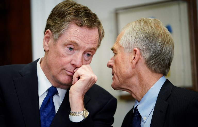 US Trade Representative Robert Lighthizer (left) and the director of the White House National Trade Council, Peter Navarro, two of Washington's most outspoken critics of China, are heading to Beijing to talk trade. Photo: AFP / Mandel Ngan