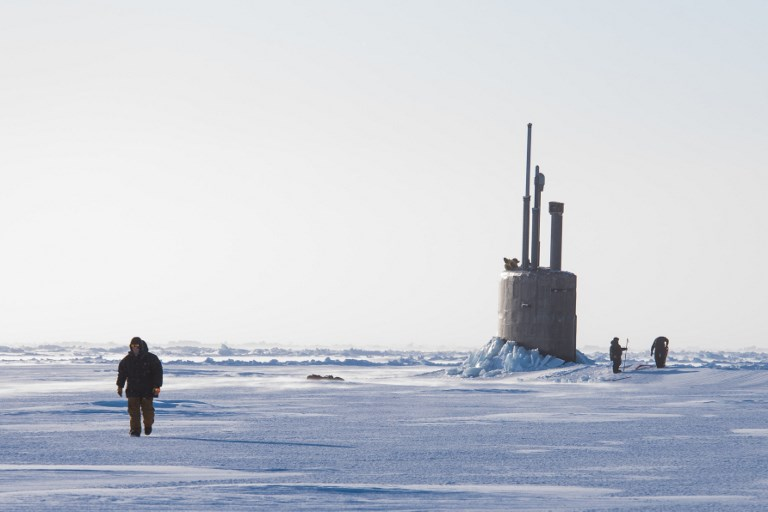 Seawolf-class fast-attack submarine USS Connecticut takes part in an exercise in the Arctic in March. Photo: US Navy via AFP / Michael H Lee