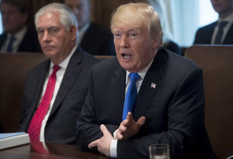Donald Trump speaks alongside then-Secretary of State Rex Tillerson. Photo: AFP/Saul Loeb