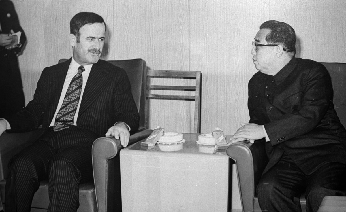 The then Syrian President Hafez al-Assad meets North Korea's Kim Il-Sung in Pyongyang, in 1974. Photo: AFP