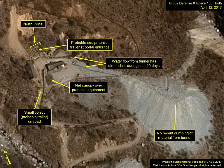 A satellite image taken  last April of North Korea's Punggye-ri Nuclear Test Site. Photo: Airbus Defense & Space and 38 North via AFP