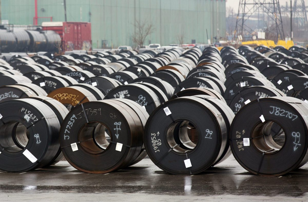 Stored rolls of steel are seen outside the ArcelorMittal Dofasco plant, an integrated steel producer, in Hamilton, Ontario, Canada. Photo: Reuters/Peter Power