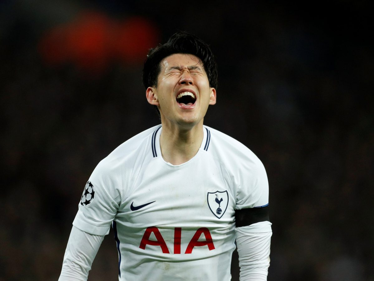 Son Heung-min reacts to scoring in Tottenham Hotspur's Champions League Round of 16 Second Leg tie against Juventus at Wembley Stadium, London, on March 7, 2018. Photo: Action Images via Reuters / John Sibley