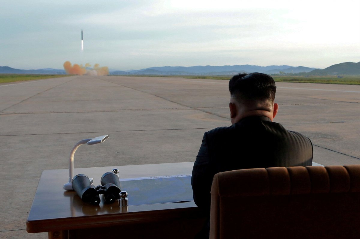 North Korean leader Kim Jong Un watches the launch of a Hwasong-12 missile in this undated photo released by North Korea's Korean Central News Agency (KCNA) on September 16, 2017. Photo: KCNA via Reuters