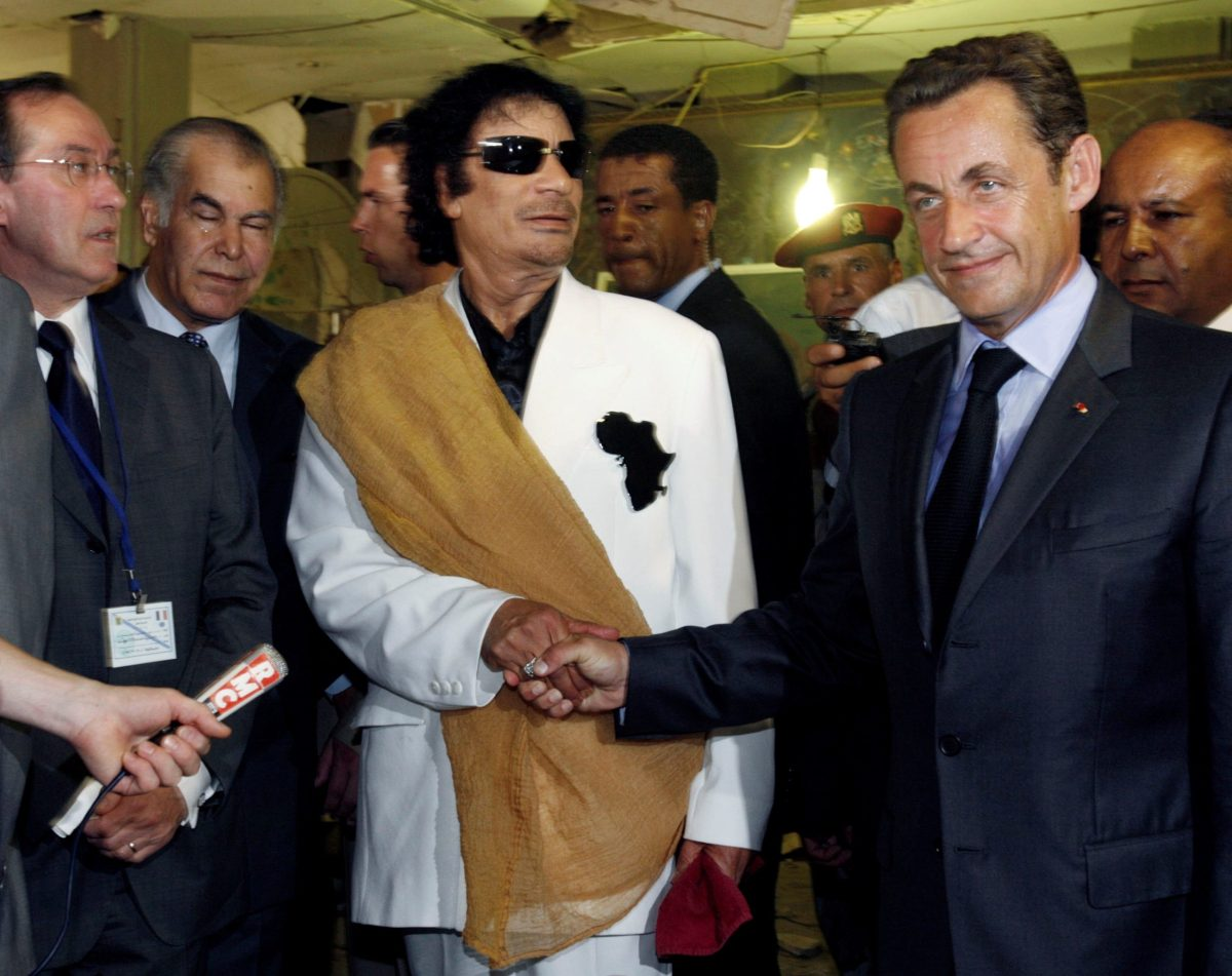 Libya's then President  Muammar Gaddafi (left) greets his then French counterpart Nicolas Sarkozy at Bab Azizia Palace in Tripoli, on July 25, 2007. Photo: Reuters / Pascal Rossignol