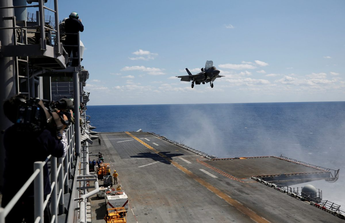 An F-35B stealth fighter landing on the USS Wasp during an operation off Okinawa last week. Photo: Reuters/Issei Kato