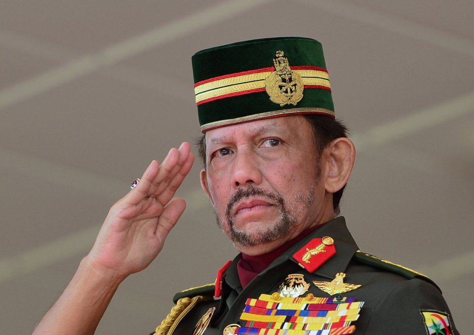 Brunei's Sultan Hassanal Bolkiah salutes during National Day celebrations in Bandar Seri Begawan, Brunei, February 24, 2018.  Photo: Reuters/Ahim Rani