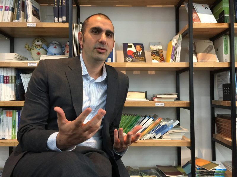Author Andray Abrahamian talks to Asia Times in Seoul. Photo: Andrew Salmon