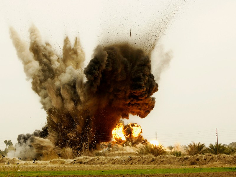 Bombs dropped from a B-1B Lancer strike an al-Qaeda torture house and prison in Zambraniyah in Iraq in 2008. Photo: AFP via Atlas Photo Archive/ USAF/ James Richardson