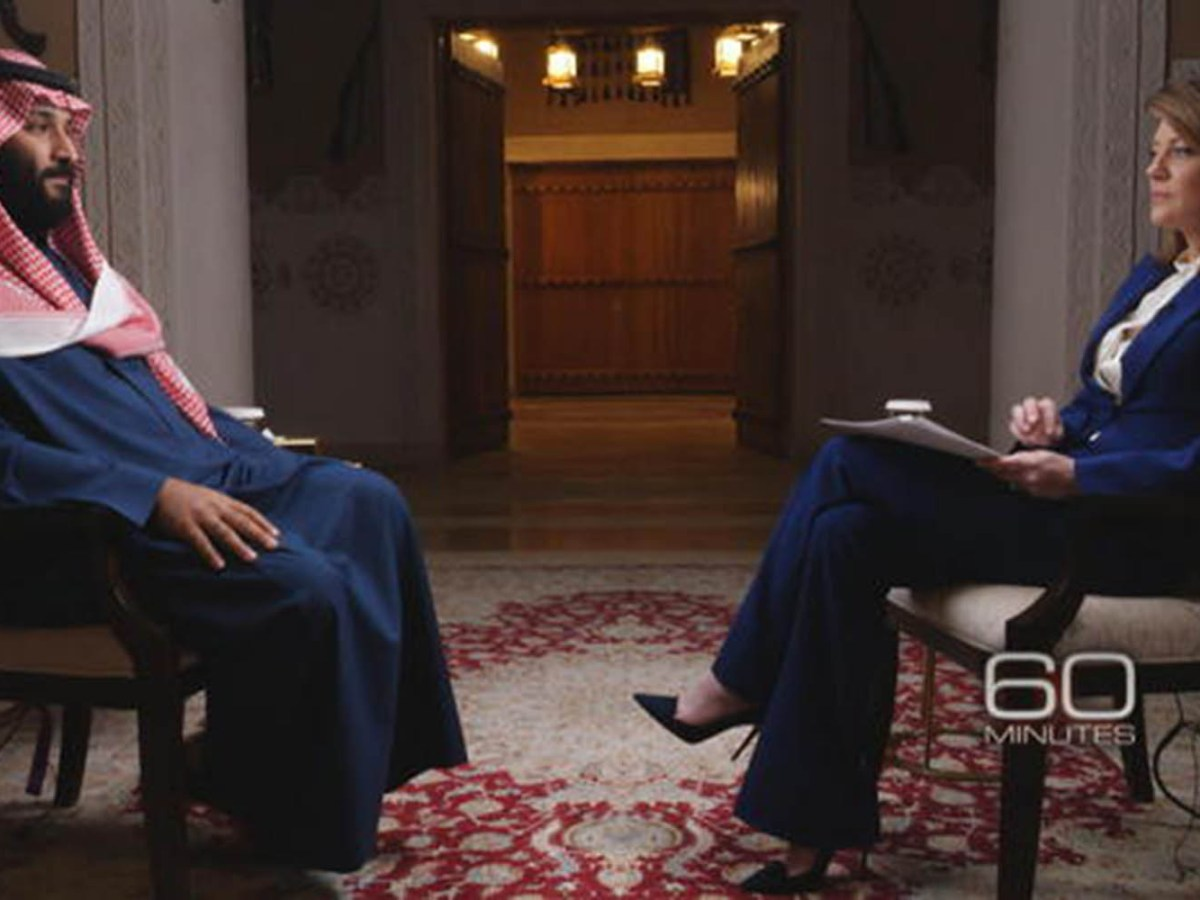 Saudi Arabia's Crown Prince Mohammed bin Salman is interviewed on '60 Minutes' by Norah O'Donnell. Photo: CBS 60 Minutes screen grab