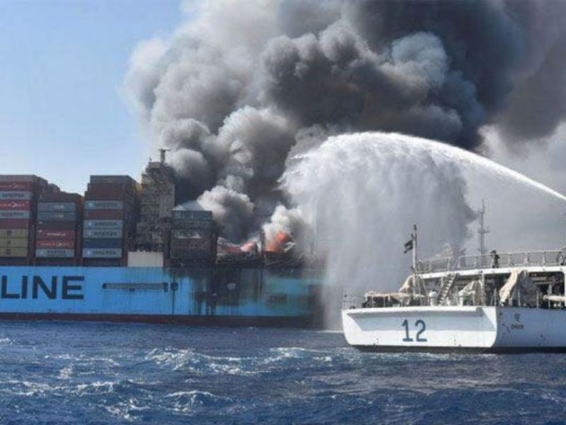 Firefighters battle to put out the fire on the Maersk container vessel in the Arabian Sea last week. Photo: Facebook