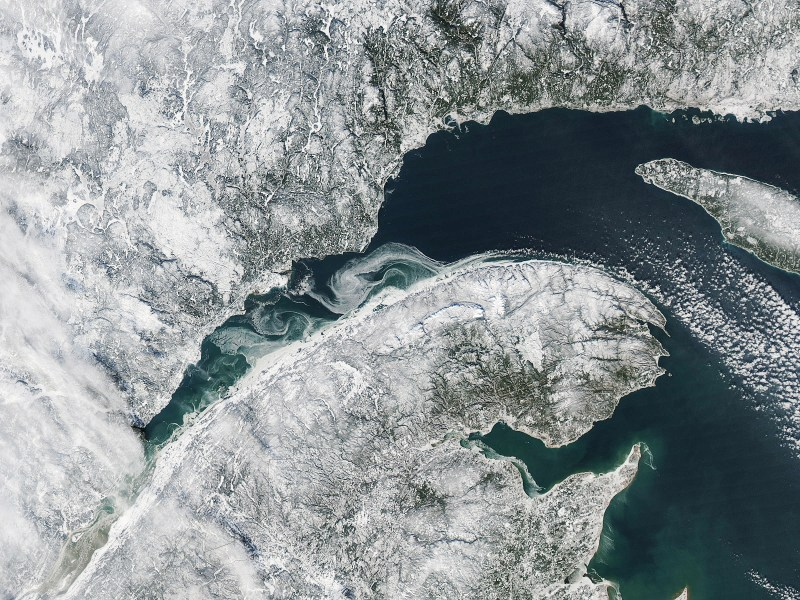 The cheap hydro-electric power produced by the St Lawrence River, on the US-Canadian border, has attracted Bitcoin miners. Image: NASA
