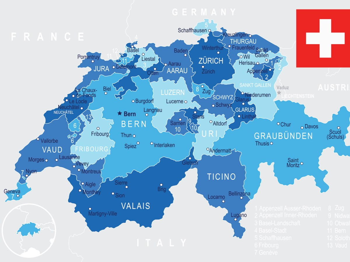 Switzerland map and flag - highly detailed vector illustration. Illustration: iStock