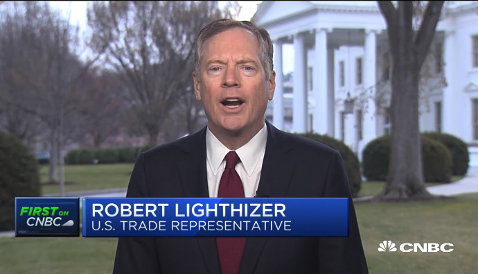 US Trade Representative Robert Lighthizer. Source: CNBC screen grab