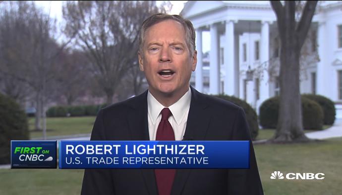 US Trade Representative Robert Lighthizer. Source: CNBC screen grab
