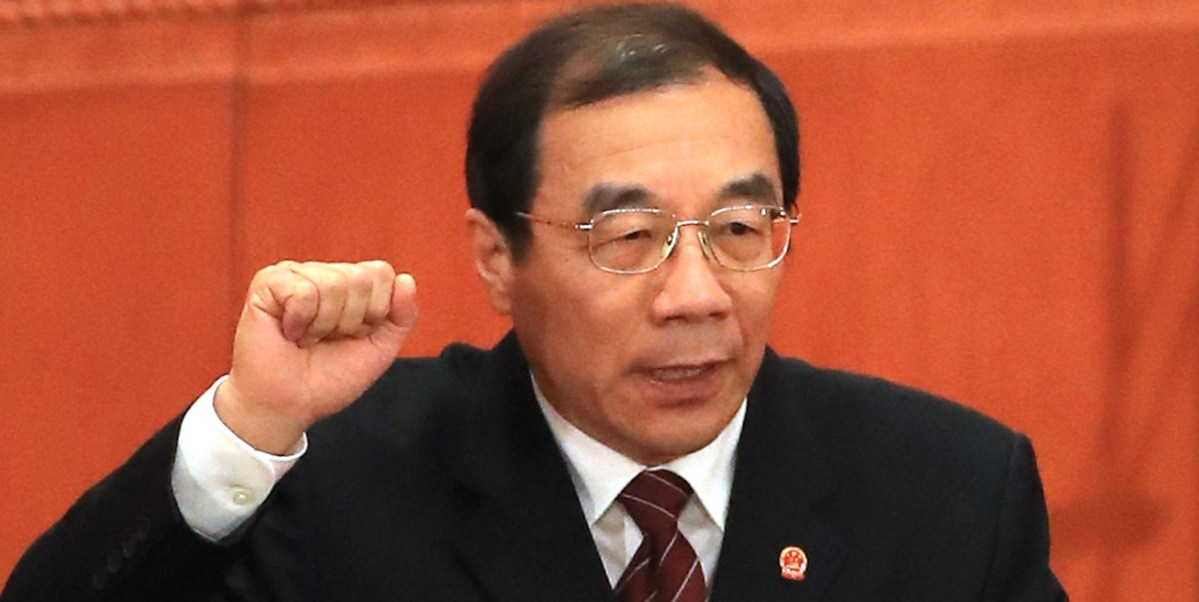 Yang Xiaodu, the new head of the National Supervisory Commission, at the National People's Congress in Beijing. Photo: AFP