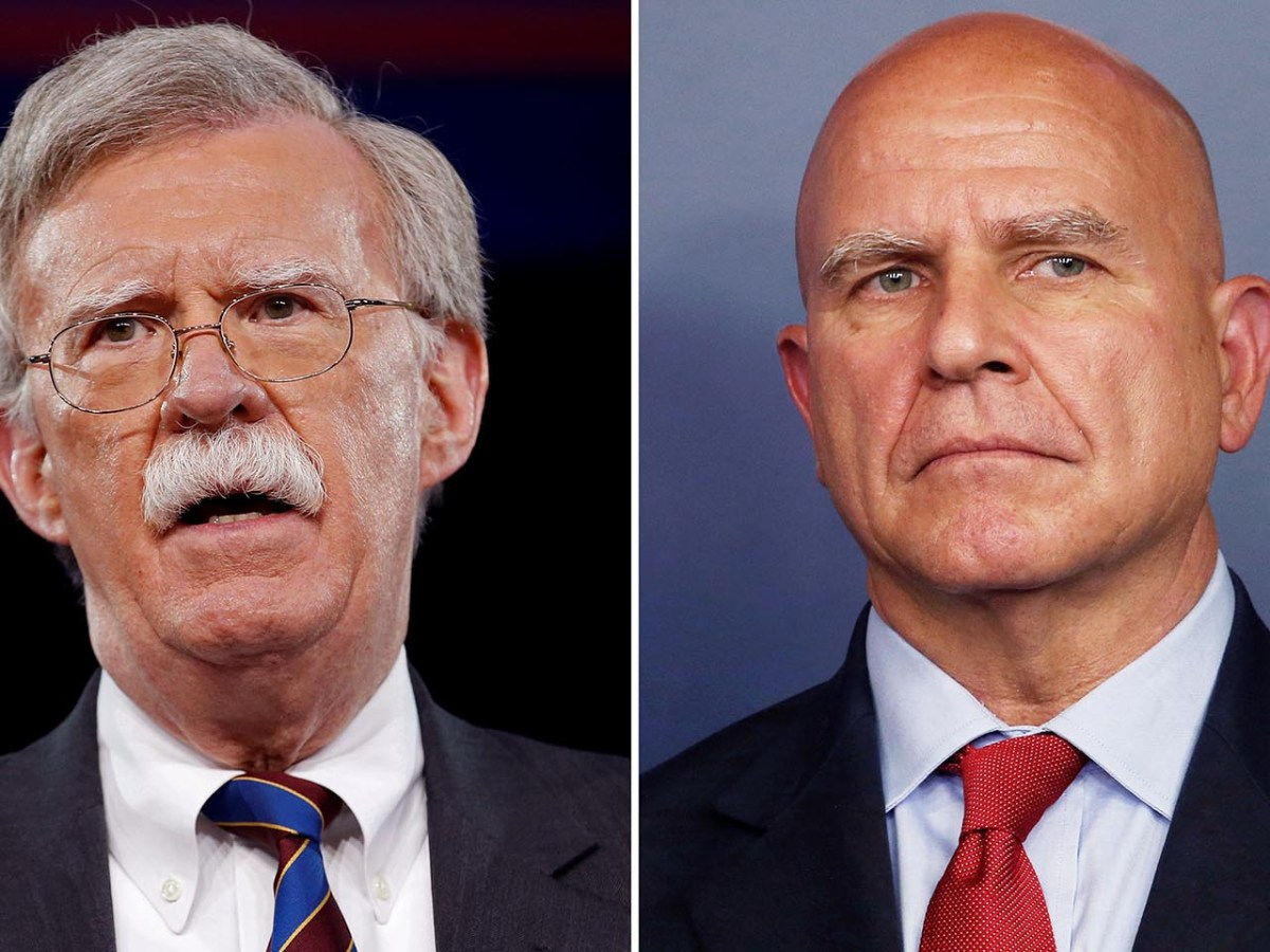 Former US ambassador to the UN John Bolton (L) and outgoing White House National Security Adviser HR McMaster. Photos: Reuters