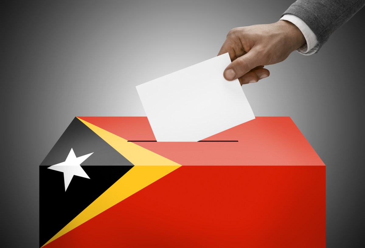 Ballot box painted into national flag colors - East Timor. Image: iStock