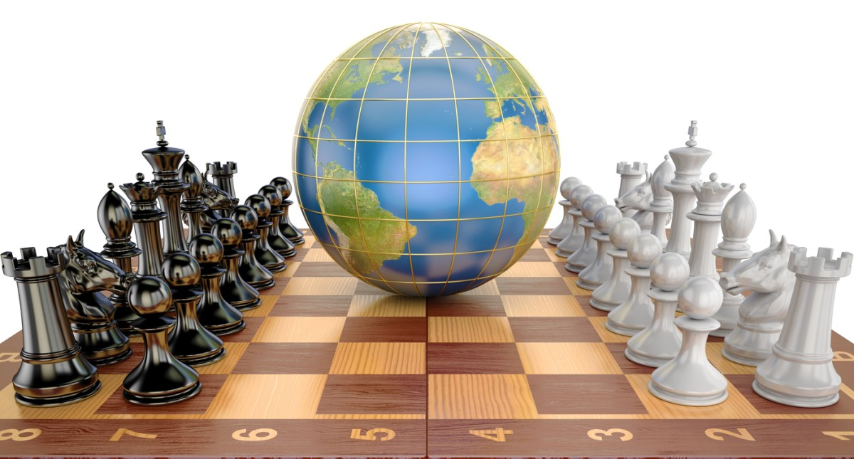 Global tactical and strategy concept, world globe with chess pieces. Image: iStock The source of the map - http://visibleearth.nasa.gov/view.php?id=57730