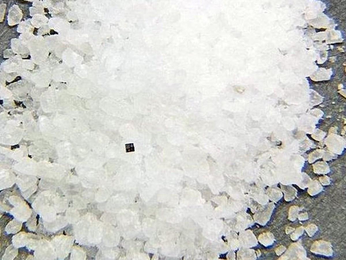 IBM's blockchain chip in a pile of salt grains. Photo: IBM