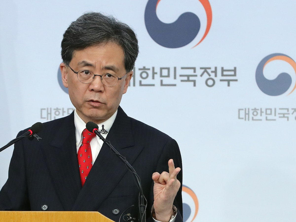 South Korean Trade Minister Kim Hyun-chong speaks during a briefing at the Foreign Ministry in Seoul on March 26, 2018.Seoul has agreed to cut steel exports to the US by 30% and accepted extended tariffs on South Korean pickups to secure a revised trade deal with the US and escape Washington's steel duties. Photo: AFP via Yonhap