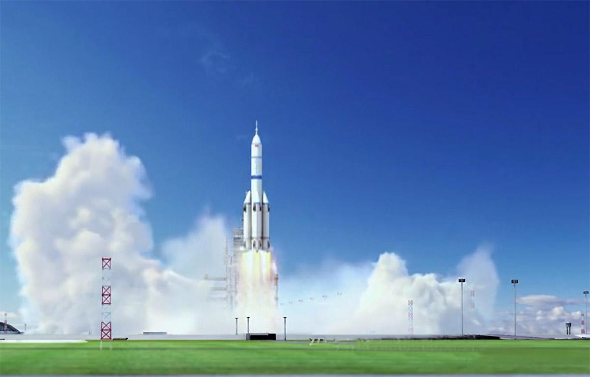 A computer-generated graphic of the Long March 9 carrier rocket currently under development. Photo: WeChat