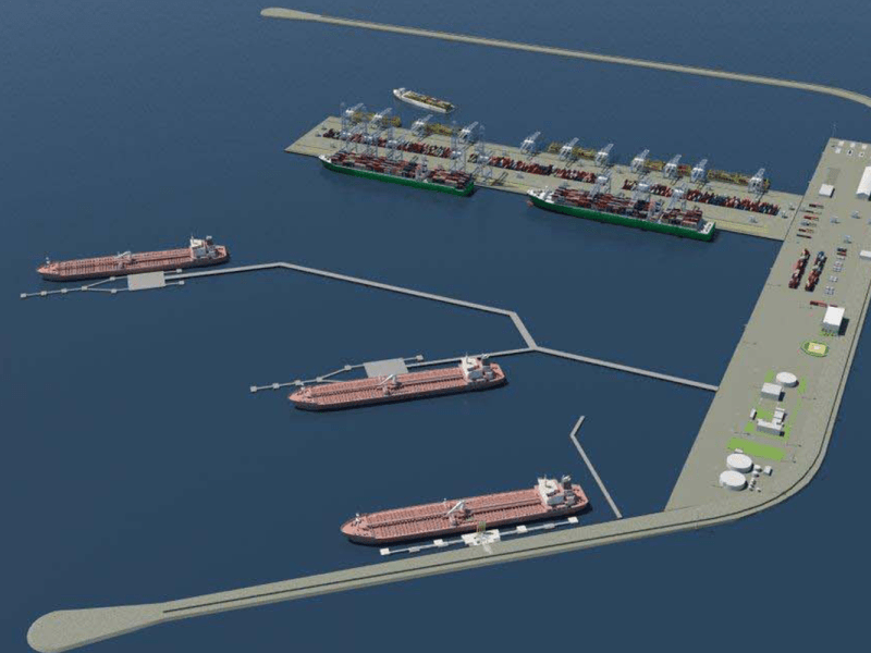 Italian engineers plan an offshore facility to take cargo from large ships from China for relay to an onshore facility and transported to destinations around Europe. Photo: Venice Offshore Port website