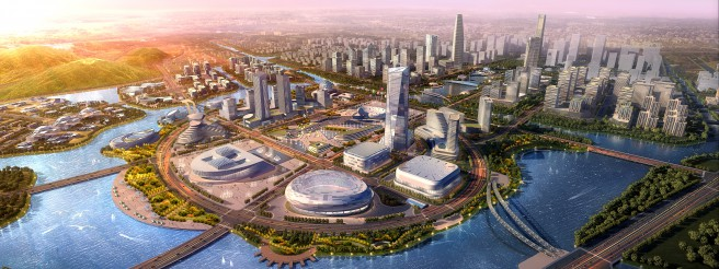 An artist's impression of a  Future Sci-Tech City development in Hangzhou, China. Photo; Future Sci-Tech City