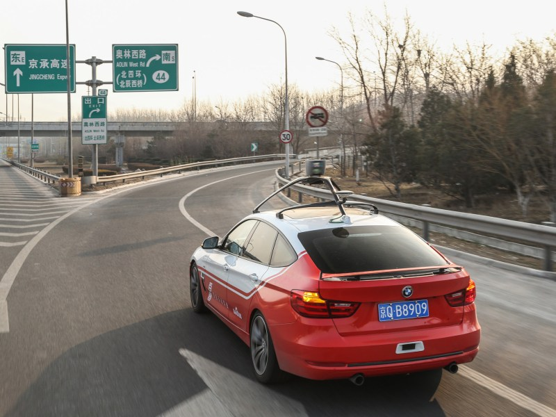 A car equipped with Baidu's self-driving system is seen in Beijing. Photo: Handout