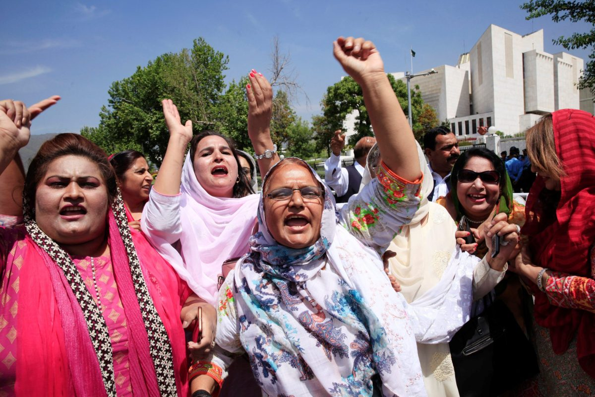 Supporters of former prime minister Nawaz Sharif chant slogans. following the Supreme Court decision to disqualify Sharif from holding office for life, in Islamabad, Pakistan April 13, 2018. REUTERS/Faisal Mahmood