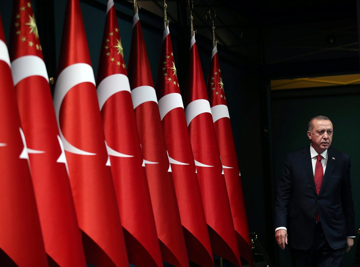 Turkish President Tayyip Erdogan speaking to the press on Wednesday to announce snap elections. Photo: Presidential Palace via Reuters/Murat Cetinmuhurdar