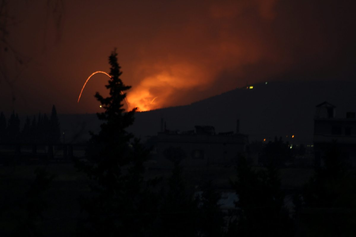 Fire and explosions are seen in what purported to be the Mountain 47 region, countryside south of Hama city, Syria, April 29, 2018. Abody Ahfad Khaled /via Reuters