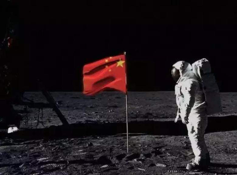 A computer-altered picture envisages China's taikonauts landing on the moon. Photo: Internet