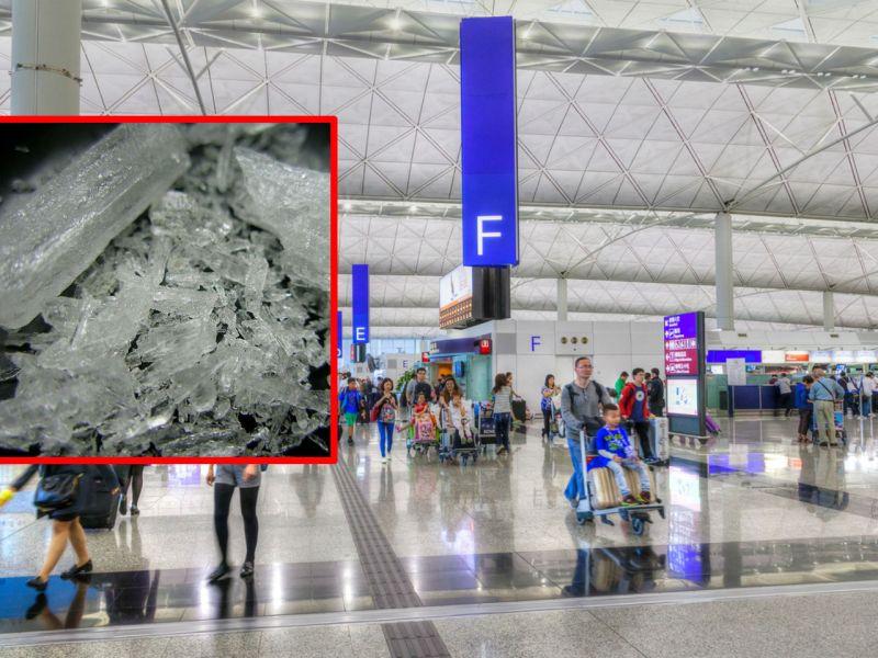 Hong Kong Airport and methamphetamine, inset. Photo: iStockphoto, Wikimedia Commons