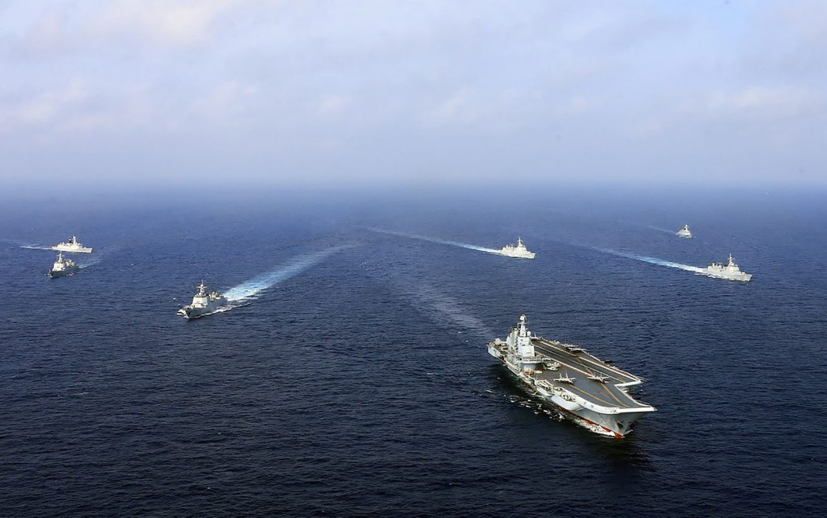 A flotilla of Chinese naval vessels in a live combat drill in an undated photo. Photo: AFP/China Out