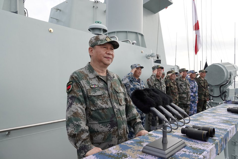 Chinese President Xi Jinping reviews a military display of Chinese People's Liberation Army (PLA) Navy in the South China Sea on April 12, 2018. Photo: Reuters/Li Gang/Xinhua
