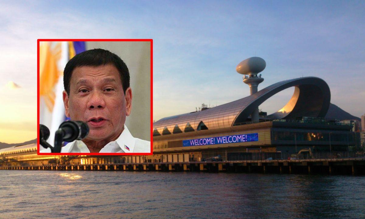 President Rodrigo Duterte (inset) will meet local Filipinos at the Kai Tak Cruise Terminal in Kowloon. Photo: Wikimedia Commons