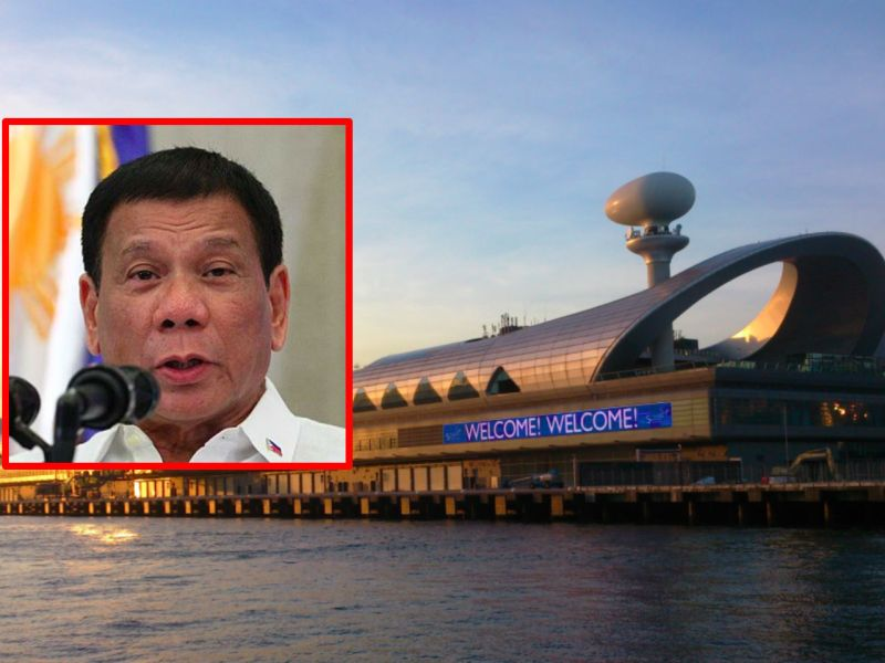 President Rodrigo Duterte (inset) will meet local Filipinos at the Kai Tak Cruise Terminal in Kowloon. Photo: Wikimedia Commons