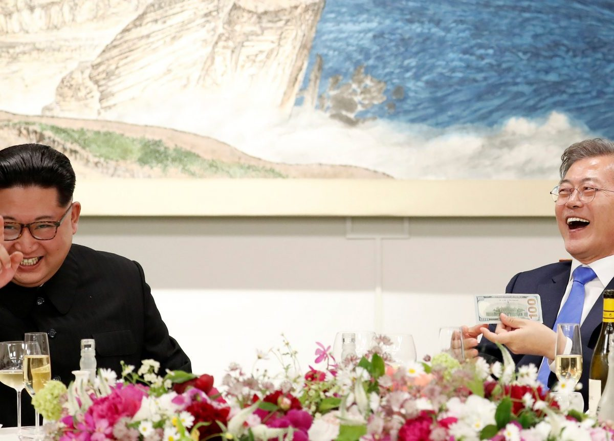 South Korean President Moon Jae-in and North Korean leader Kim Jong-un attend a banquet on the Peace House at the truce village of Panmunjom. Photo: Press Pool/via Reuters