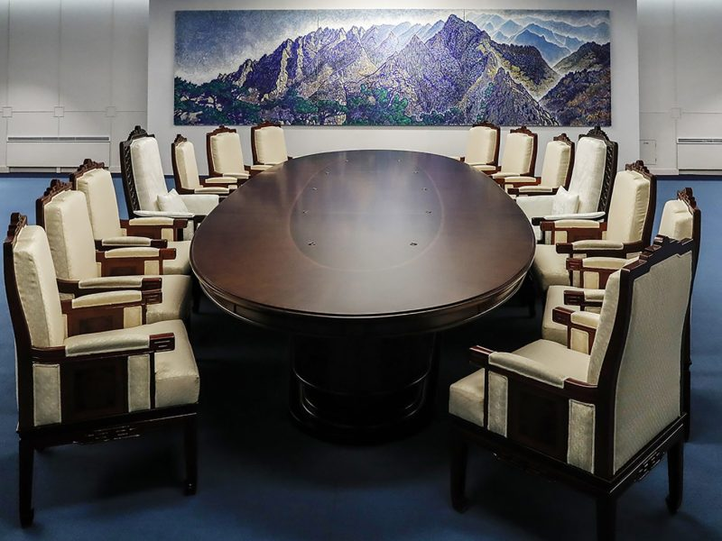 A meeting room for the upcoming inter-Korean summit at the border truce village of Panmunjom in the Demilitarized zone dividing the two Koreas. Photo: AFP/The Blue House