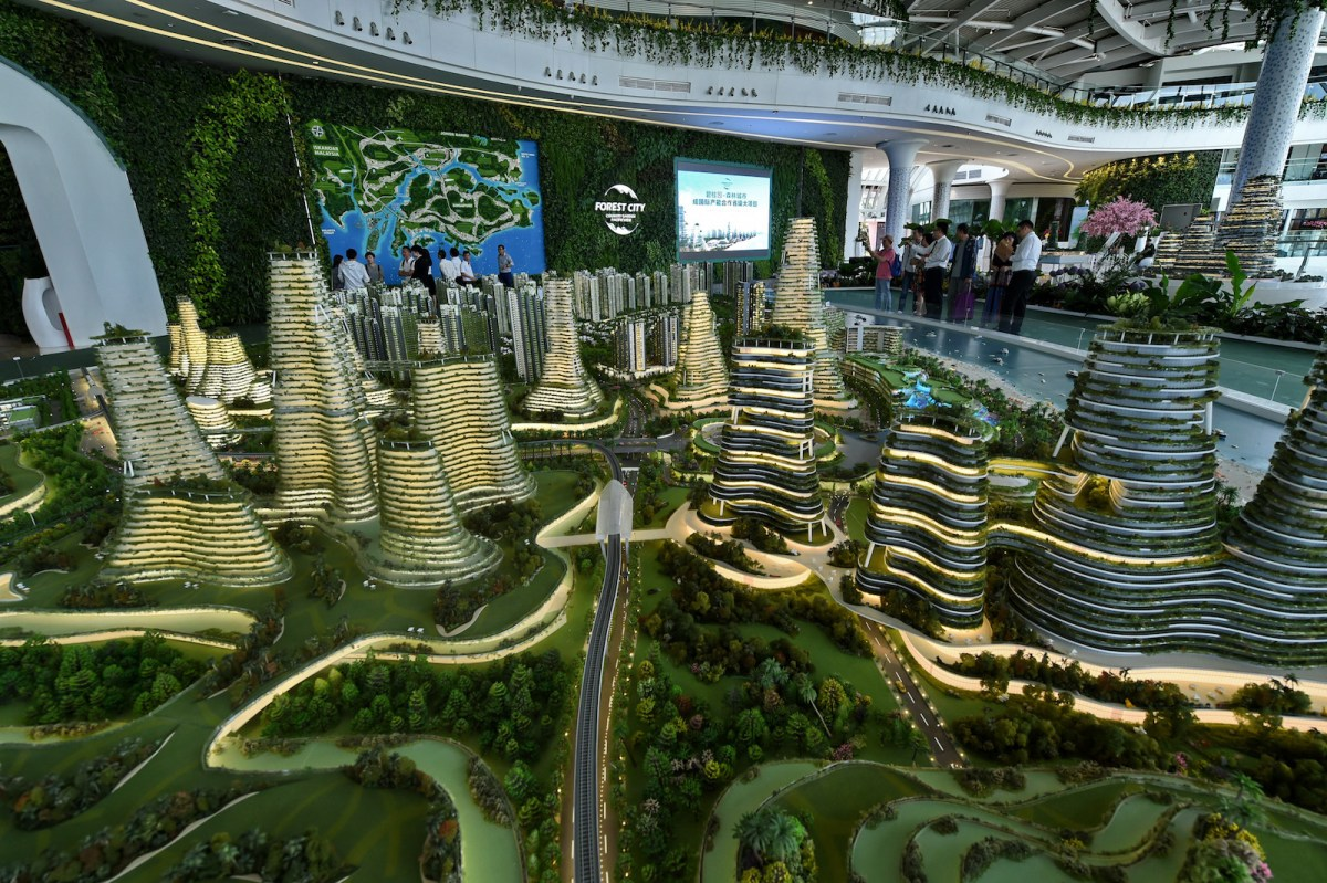 A scale model of the China-backed Forest-City property development project on one of the man-made islands on the Malaysian side of the Straits of Johor. Photo: AFP/Roslan Rahman