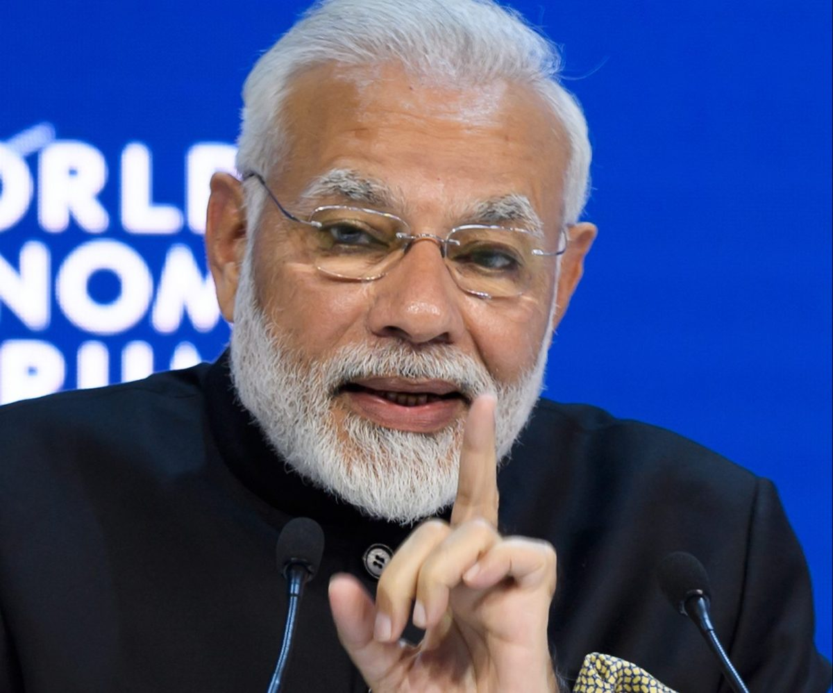 Indian Prime Minister Narendra Modi delivers a speech at the World Economic Forum in January in Davos,  Switzerland. Photo: AFP/ Fabrice Coffrini