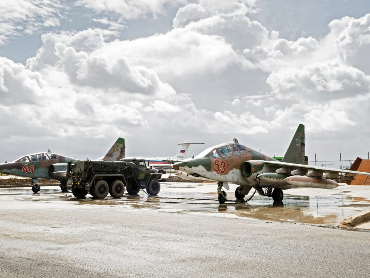 Russian Sukhoi Su-25 ground-attack planes at the Hmeimim airbase in Syria. Photo: AFP