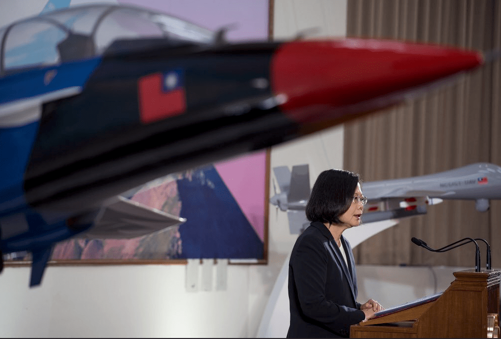 A file photo of Taiwanese President Tsai Ing-wen delivering a speech on the island's defense policy. Photo: Twitter via Office of the President, Taiwan