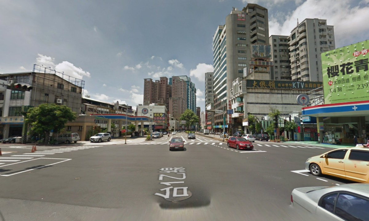 The intersection of Zhongqing Road and Yingcai Road in Taiching was where the woman was first spotted violating traffic rules. Photo: Google Maps