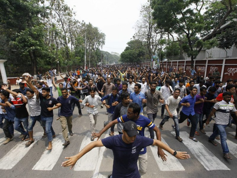 Bangladeshi students march in a protest against the quota system near Dhaka University. Photo: Nabiullah Nabi