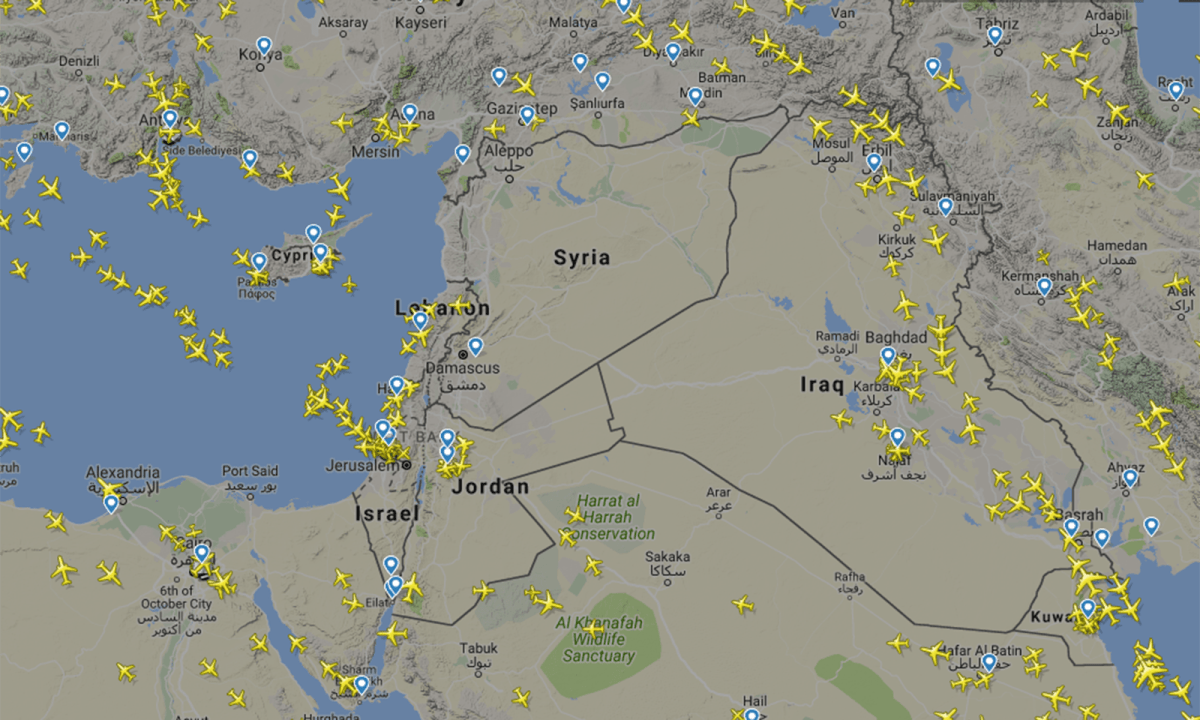 Airspace is empty over Syria after the European Aviation Safety Agency published a rapid alert notification warning of the possibility of missile activity in the Eastern Mediterranean. Diagram: FlightRadar24