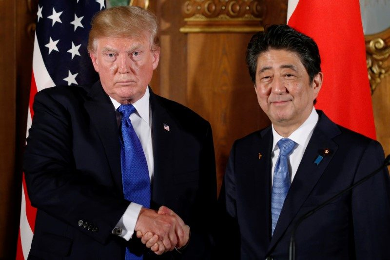 Japanese Prime Minister Shinzo Abe was one of the first world leaders to meet US President Donald Trump. Photo: Reuters / Jonathan Ernst