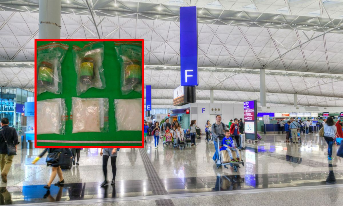 Hong Kong International Airport. Inset: Suspected methamphetamine was found in plastic bottles and seized. Main photo: Google Maps