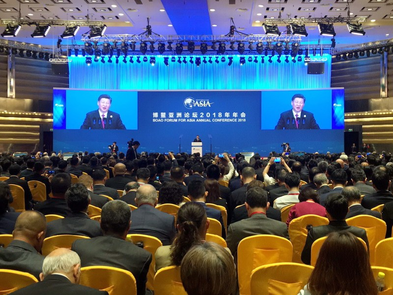 China President Xi Jinping's keynote speech at the Boao Forum for the Asia Annual Conference 2018. Photo: AFP